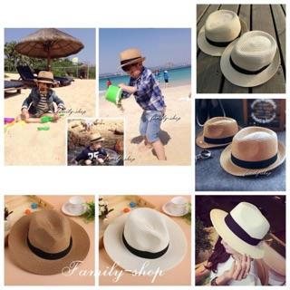 親子草帽兒童草帽親子帽沙灘帽爵士帽遮陽草帽旅行 款四季都