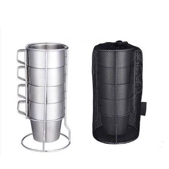 正304 雙層隔熱不銹鋼杯組 4入 SUS304杯子 咖啡杯 啤酒杯 茶杯 馬克杯 保溫杯 露營杯 不鏽鋼 野餐 露營