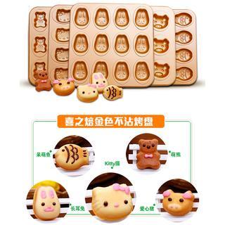 【vivi烘焙】12連 萌魚/KITTY/小熊/小兔 蛋糕模 烤盤 不沾 巧克力模 雞蛋糕模 烤模