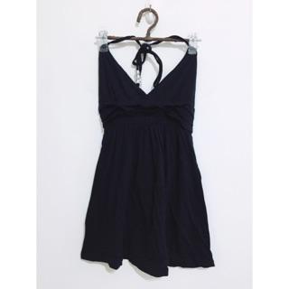 繞頸綁帶黑色洋裝