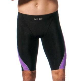[小安安賣場]聖手SAIN SOU泳裝大男【競賽型七分泳褲】【馬褲競賽型】【黑色紫邊】【台灣製造】