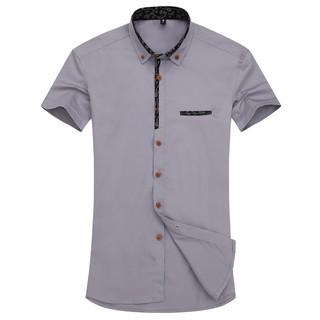 商務青年工裝韓版修身款休閒4色短袖襯衫時尚白色襯衫%23496