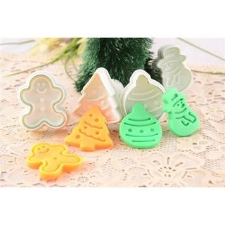 *水蘋果* C-218 卡通 聖誕樹 雪人 四件套 彈簧餅乾壓模