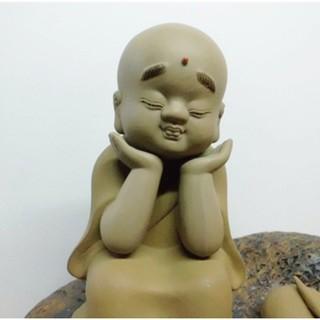 石灣陶瓷公仔精品擺件小沙彌和尚一休靜坐禪意家居飾品藝術工藝品