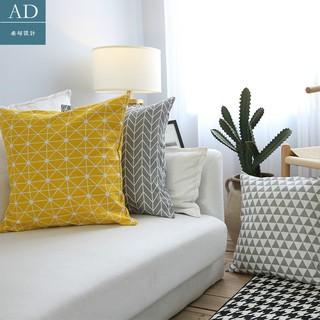 清新文藝清爽格子帆布透氣沙發組合 抱枕 靠枕北歐幾何美式大 抱枕
