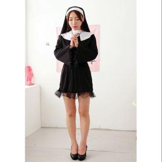 修女服 萬聖節表演服 修女長袖連身裙裝  贈送大十字架