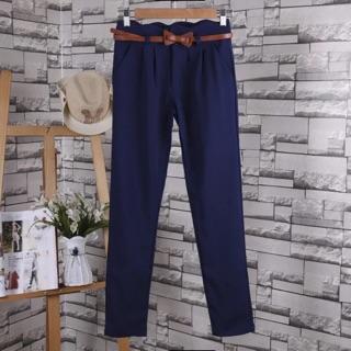 韓版長褲 時尚西裝褲 OL上班族 直筒褲  深藍色 西裝褲女 女生長褲 女西裝褲 大尺碼2XL