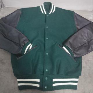 美國製 經典DeLong 純羊毛牛皮 棒球外套