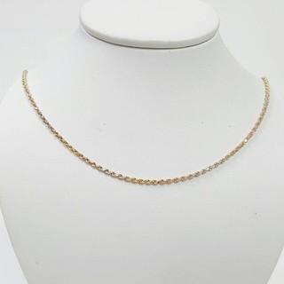 最佳送禮 義大利項鍊 585三色k金材質 鍊長40.5cm鍊寬0.25cm 總重1.97錢  編號1523