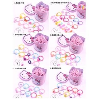Hello Kitty鐵盒內裝可愛髮夾皮筋