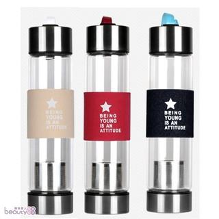 【H2O】時尚玻璃情侣 茶葉分離 泡茶 隨身瓶(送杯套/清潔刷隔熱圈)[209086]
