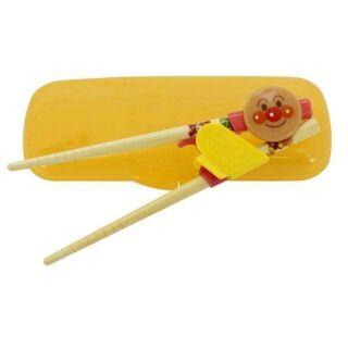 日本進口正版 麵包超人 Anpanman 竹製 兒童三階段學習筷 附攜帶盒 學習筷(右手專用)