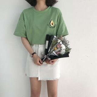 希希家新品搶鮮卡通牛油果刺繡短袖T 恤休閒上衣簡約T 恤韓系小清新學生上衣素色T 恤正韓上衣