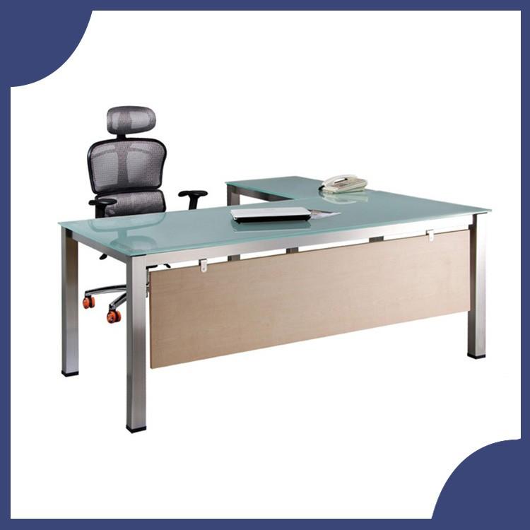 【屬過大商品,運費請先詢問】辦公家具 SKA-16080MG+SKA-9050MG 不銹鋼 強化霧面玻璃 主管桌 辦公桌 書桌 桌子