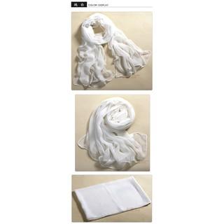 纯白丝巾160*50薄款多 简单纯色素色单色纱巾 雪纺围巾
