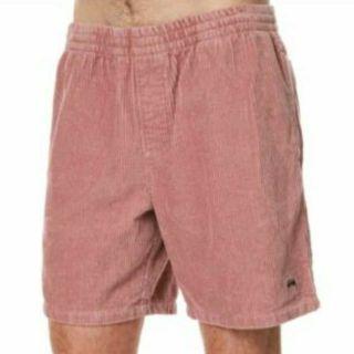 全新 正版 stussy 男版 絨短褲 34腰 鮭魚粉