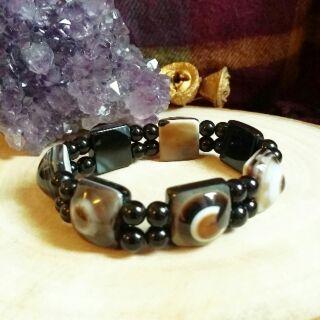 《秀晶石》 天然水晶 天珠 瑪瑙 黑曜 手珠