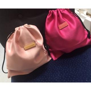 PRADA CANDY 桃紅粉紅抽繩束口袋化妝品收納袋分類整理袋