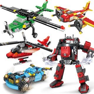 奧斯尼兒童積木玩具益智拼裝塑膠積木3合一變形創意積木Q25616-20