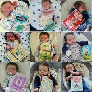 寶寶成長紀錄 拍照道具 英語卡片 一週歲 里程碑 ins 字卡 紀念 彌月禮物 彌月