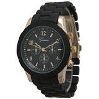 日內瓦計時男裝黑色金屬錶帶手錶