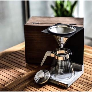 我的咖啡時光 Driver J.S.工業4.1咖啡濾杯手沖組 清水模 不銹鋼濾網 碳鋼烤漆架 實木箱收納 限量發行 免運