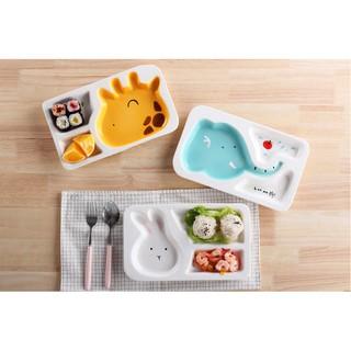 現貨小鐵盒 E0162卡通陶瓷分格餐盤 可愛動物餐盤兒童餐具 兒童餐盤 早餐盤 長頸鹿 大象 小白兔 可愛餐具 可進烤箱