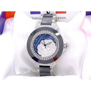 Valentino 范倫鐵諾 精密切割陶瓷框藍珍珠貝浮雕山茶花爪鑲晶鑽腕錶-水晶鏡面