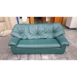 東鼎二手家具 綠色皮製 三人座沙發*皮沙發*3人座沙發*二手沙發*客廳沙發*套房沙發*辦公沙發*KTV沙發