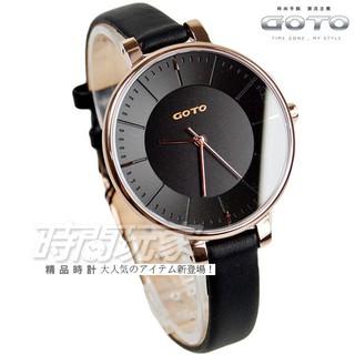 GOTO 個性簡約時尚腕錶 玫瑰金電鍍x黑 真皮錶帶 GL1040L-43-341【時間玩家】