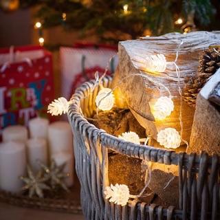聖誕限定預購   松果燈串 寢室裝飾 掛燈 燈球 聖誕節 LED燈串 露營 電池款 交換禮物