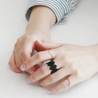 復古鏤空黑蕾絲 戒指氣質黑色雕花烤漆寬邊開口
