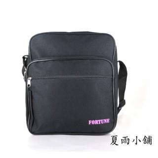 FORTUNE超大容量直立式斜背包可A4黑底紫色 LOGO