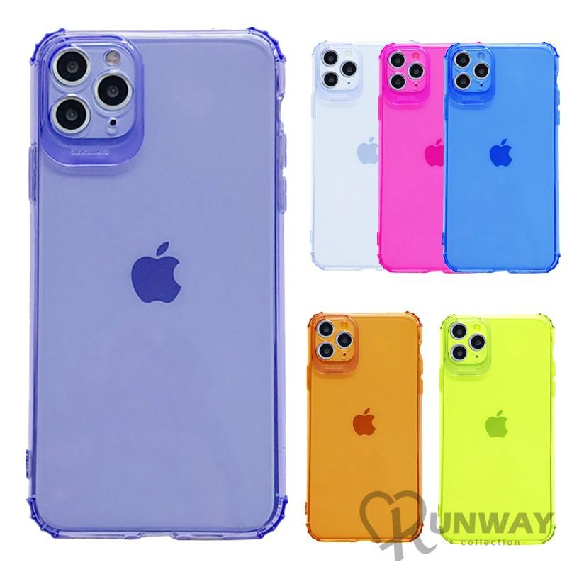螢光色 彩色透明 四角防撞 簡約 iPhone 11 蘋果手機殼 全包邊軟殼 防摔殼