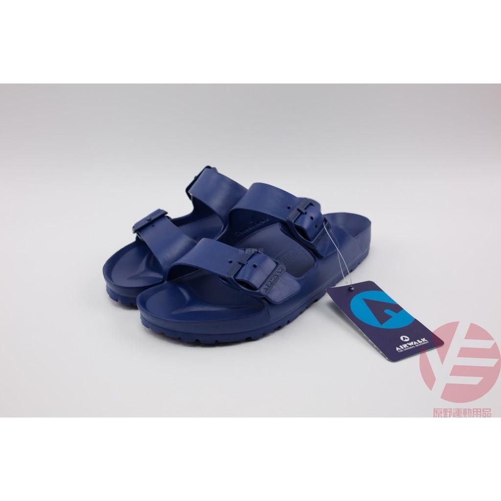 【教練先生】Air Walk拖鞋 深藍 公司貨 防水 類似Birkenstock勃肯鞋 可調楦頭 airwalk AB拖