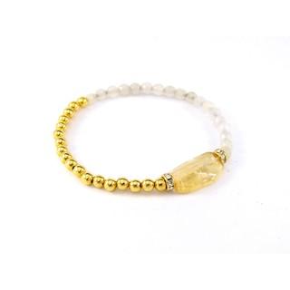 手作 手創 手珠 飾品 黃水晶+瑪瑙 水鑽隔珠 金色珠珠 撞色手鍊