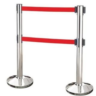 【最後倉庫出清】雙帶不銹鋼伸縮欄柱(錐盤)/E85A-2R ( 紅絨柱 紅龍柱 欄柱 柱子 侯位 排隊 鐵欄干 繩柱)