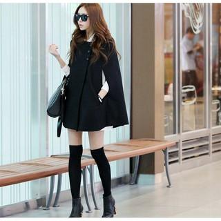 【愛尚購物】VK精品服飾 韓系時尚寬松呢子斗篷大衣毛呢百搭披肩長袖外套
