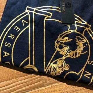 實拍‣‣ Versace jeans VJ 凡賽斯燙金虎頭短袖 金標大logo棉質休閒上衣 t恤 短t 黑標
