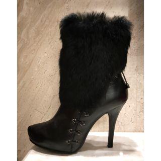 現貨 正品 達芙妮 真皮 兔毛 中筒靴 黑色  高跟馬靴 25號  有加鞋墊23.5可穿