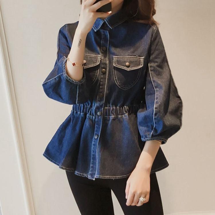 韓版燈籠袖荷葉邊收腰短款牛仔外套女裝寬鬆七分袖上衣