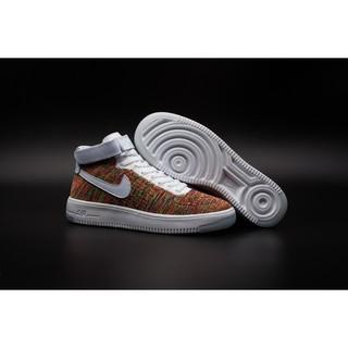 Nike Air Force 1 Flyknit空軍中幫飛線編織 運動鞋 跑步鞋 白金色