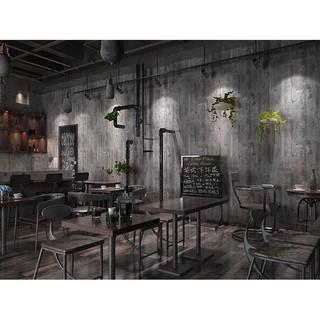 加厚無紡布/仿鐵鏽水泥牆工業風壁紙/美式餐廳/早午餐廳/咖啡廳專用壁紙(鐵鏽灰)