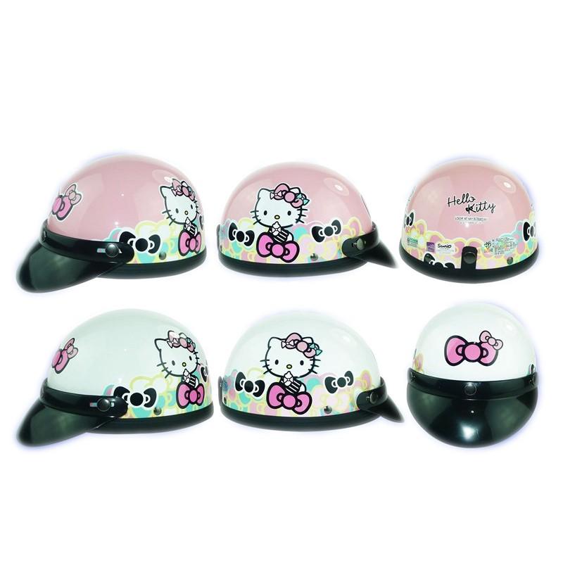 華泰 買就送鏡片一片 正版kitty 復古帽 碗公帽 半罩式 輕便型安全帽 2/1罩