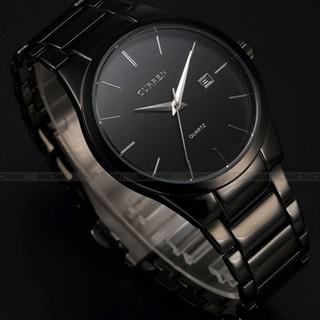 CURREN卡瑞恩8106鎢鋼色商務男士時尚休閒機械手錶 防水石英錶