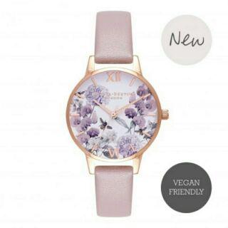 Olivia Burton 紫色花卉玫瑰金/紫色ˊ真皮手錶