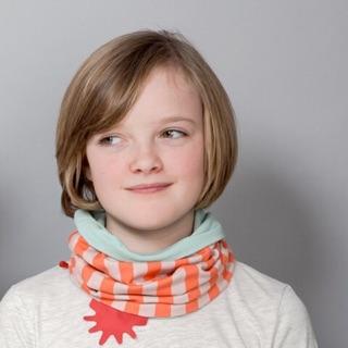 英國直送 Redurchin 有機棉脖圍-薄荷綠/粉橘直條 33公分