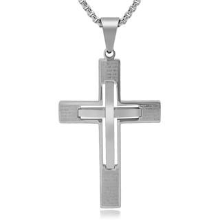 2018熱男耶穌鈦鋼兩個十字架聖經吊墜項鍊天主教男子婦女祈禱流行珠寶