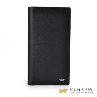 BRAUN BUFFEL‧德國小金牛 - 紳士系列17卡壓紋厚型長夾 - 黑色 BF182-323-BK