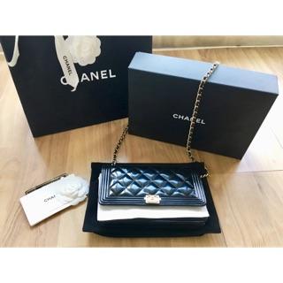 保證正品 Chanel boy woc 黑色 金鍊 漆皮 亮皮 全配 紙袋 紙盒 防層袋 保卡 斜背 肩背 側背 手拿包